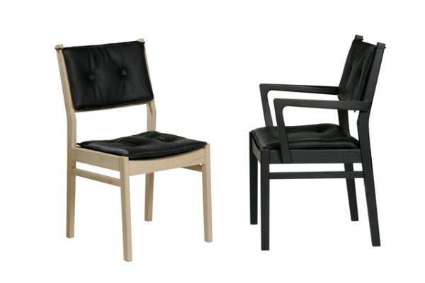 Saxo stol med læder hynde