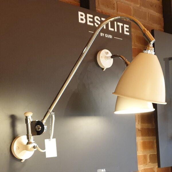 BL6 Væglampe Ø16 krom/mat hvid - Gubi - Udstillingsmodel